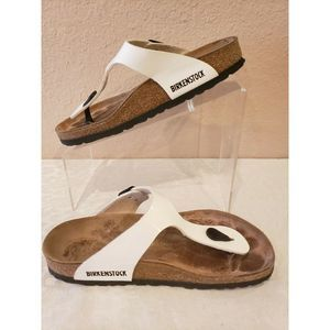 Birkenstock Gizeh Patent Leather SandalsWhite